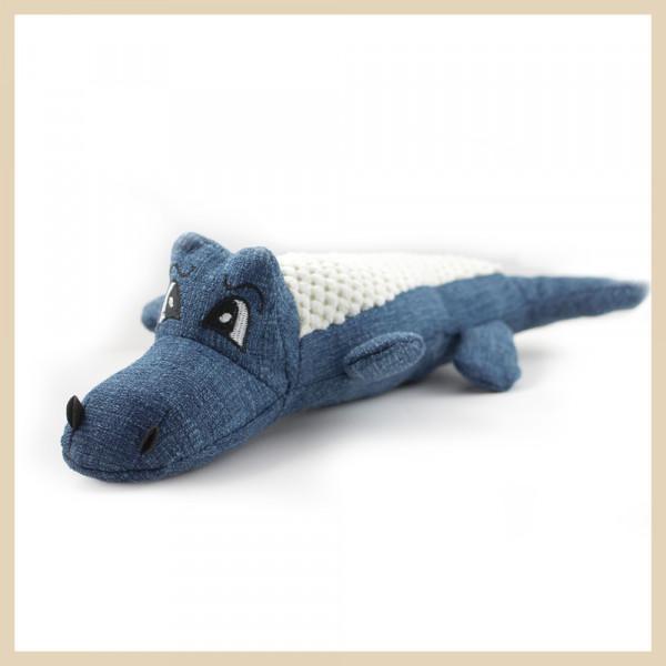 Stoff-Krododil mit Squeeker Blau