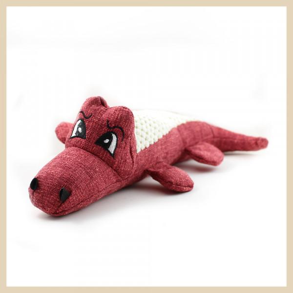 Stoff-Krokodil mit Squeeker Rot